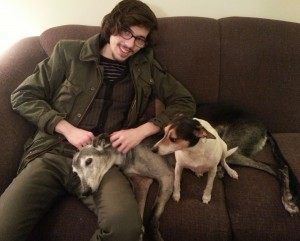 Michael cuddling with Matilda and Livvie.