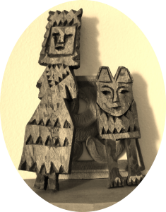 Little Wooden Carved Guy and his mother